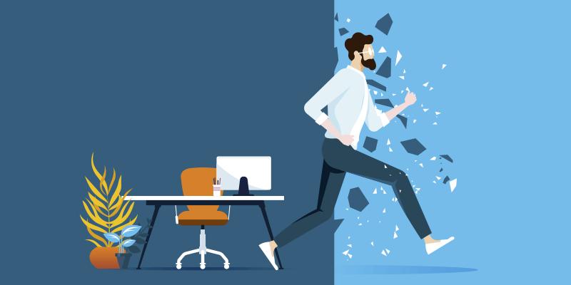 animação de uma figura masculina correndo e quebrando uma parede