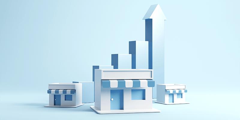 ilustração com unidades de franquias e gráfico de crescimento